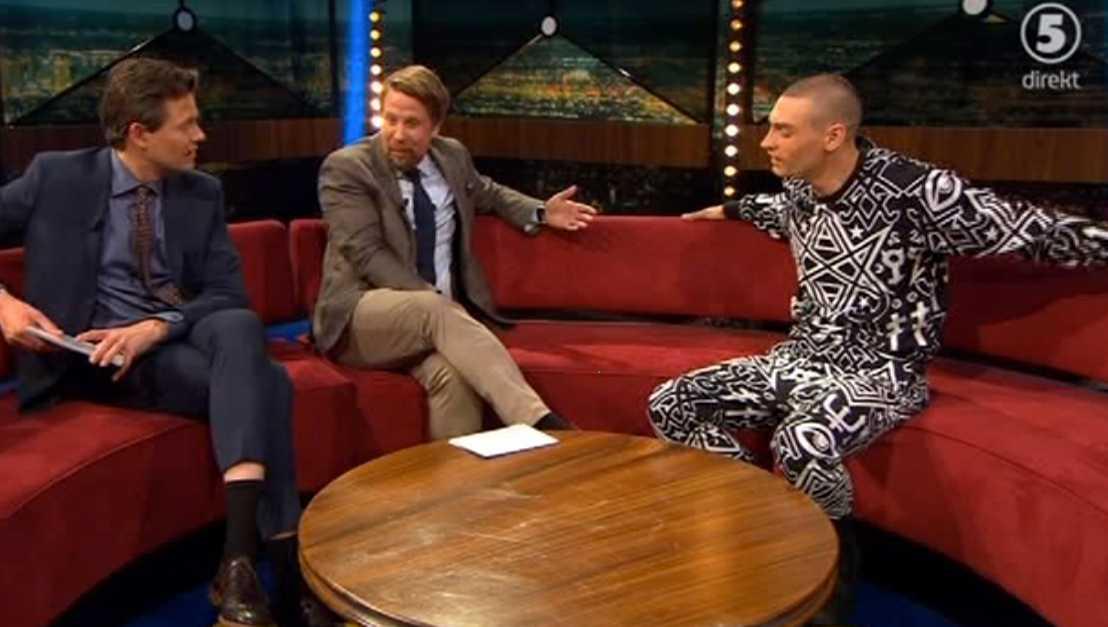 "Gustaf Norén hos Filip & Fredrik i ""Breaking news""."