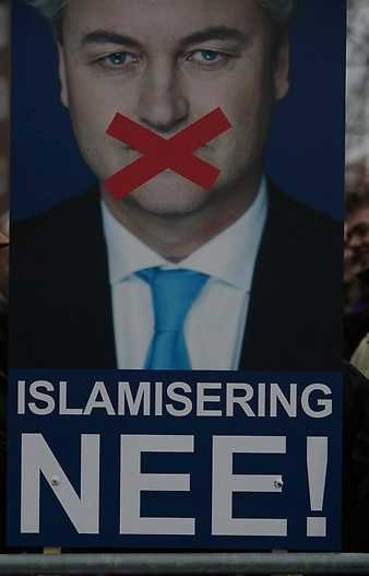Affisch till stöd för Gert Wilders i Nederländerna.