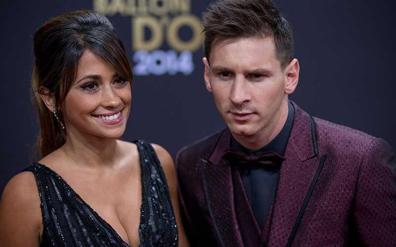 Lionel Messi med frun Antonella Roccuzzo.