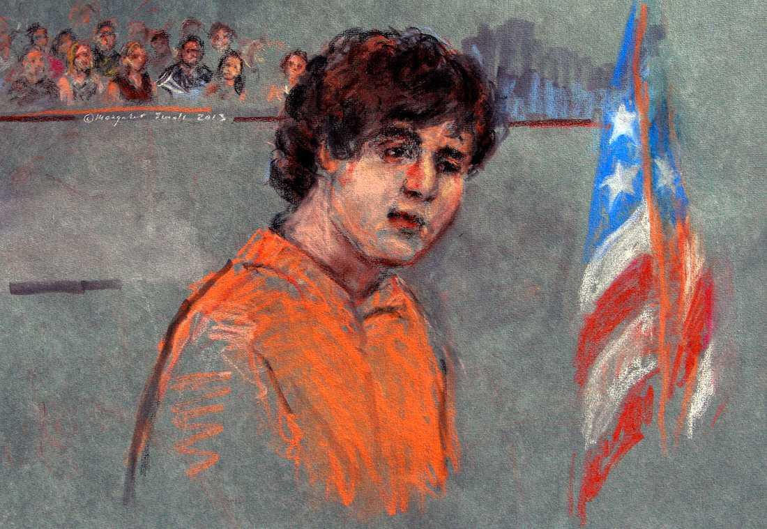 En teckning av Dzjochar Tsarnajev i rättssalen.