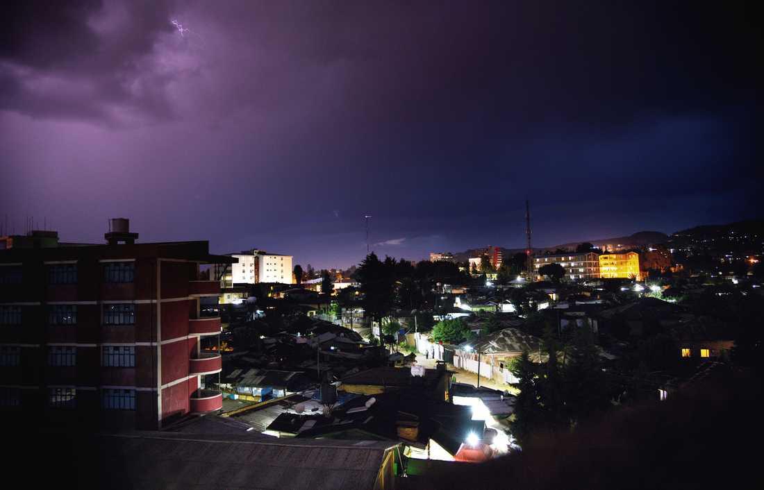 Stadsvy över huvudstaden Addis Abeba.
