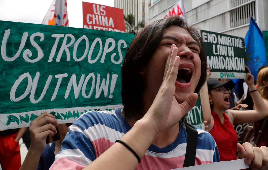 En demonstration mot den amerikanska militära närvaron i Filippinernas huvudstad Manila förra året. Arkivbild.