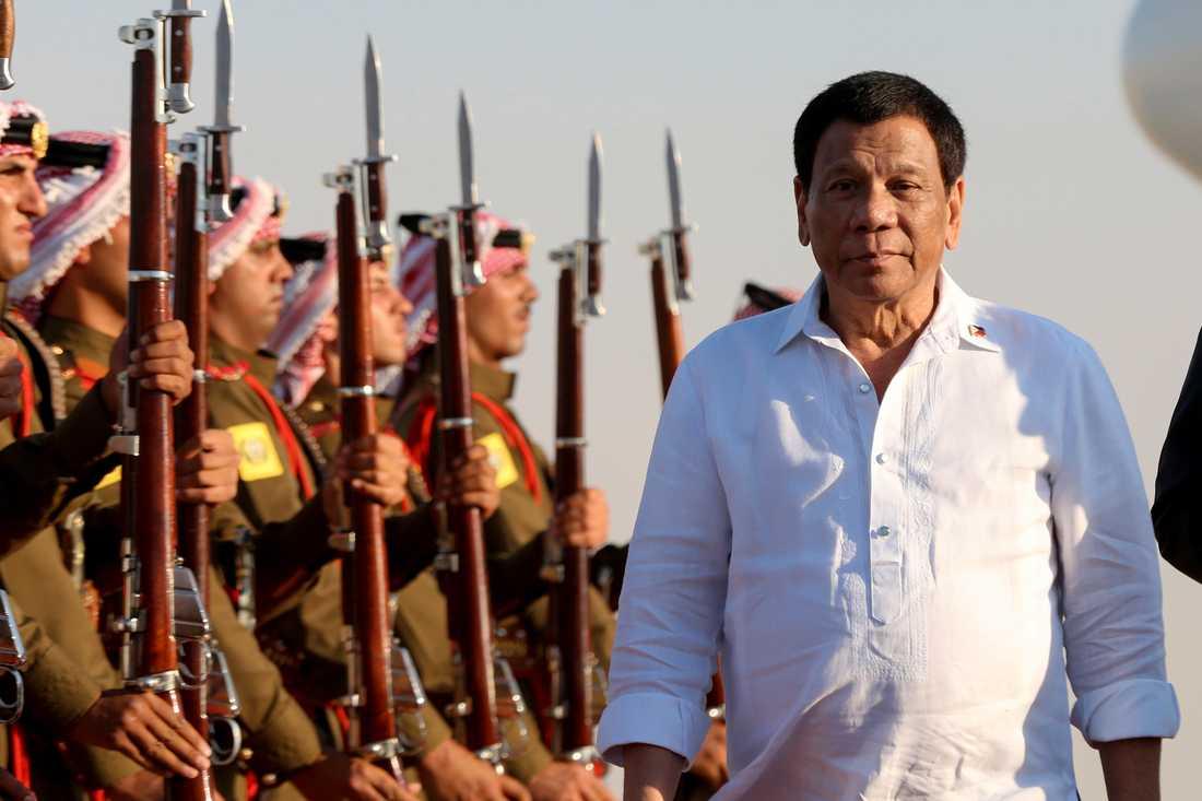 Rodrigo Duterte vid ett statsbesök i Jordanien. Arkivbild.