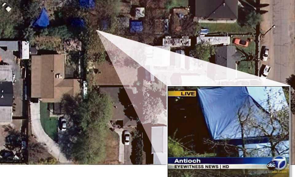 Familjen fick bo i ett tält och ett ljudisolerat skjul på bakgården.