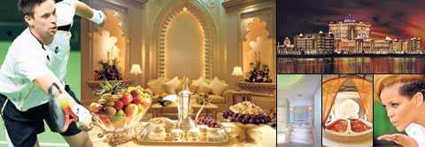 guldsmak Fem kilo guld går åt varje år på Emirates Palace – enbart till att dekorera bakverk och efterrätter. Här ska Robin Söderling ladda upp inför matcher mot världens bästa.