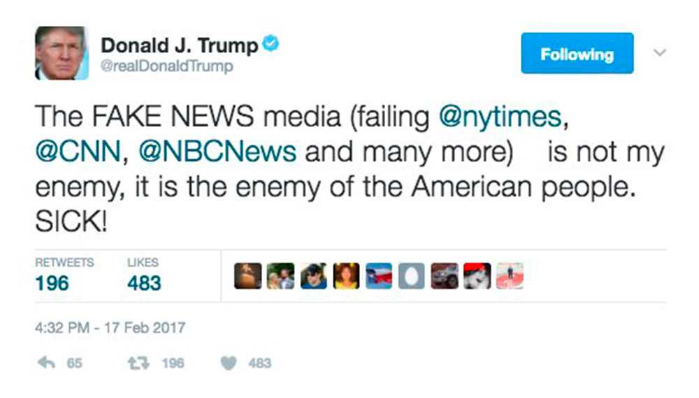 """Tweeten som Trump raderade. Strax efter lade han upp en ny. Den var snarlik men saknade ordet """"SICK!""""."""