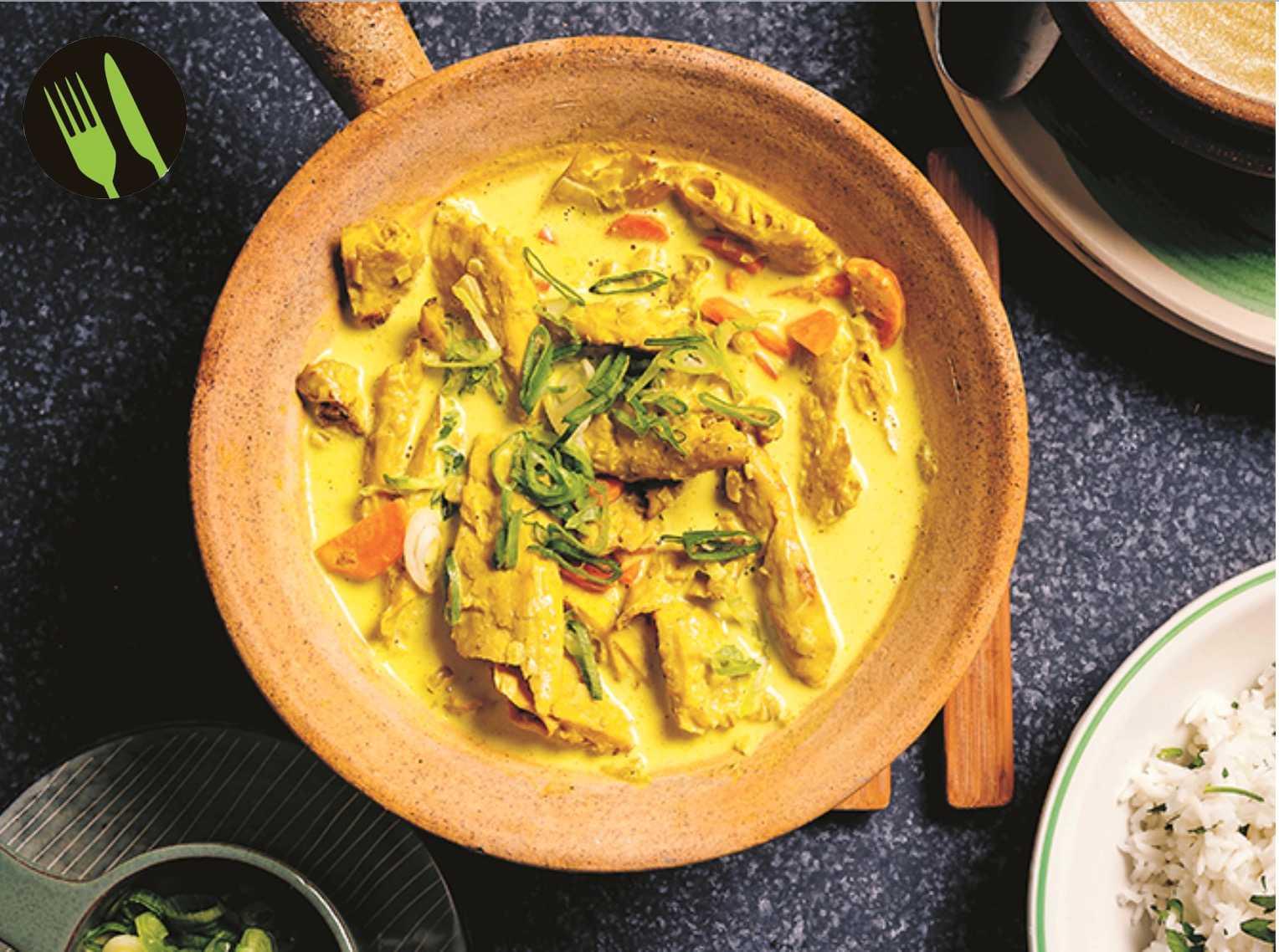 Kyckling, ris och curry–utan kyckling