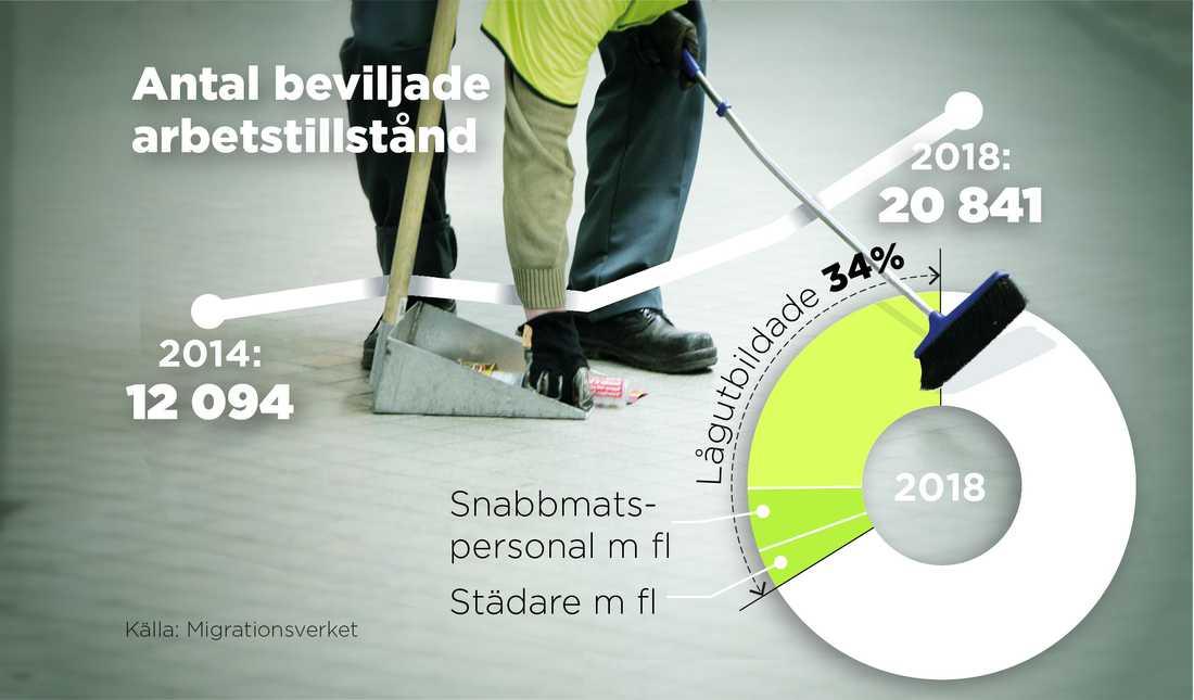 Många av dem som arbetskraftsinvandrar till Sverige från länder utanför EU är lågutbildade.