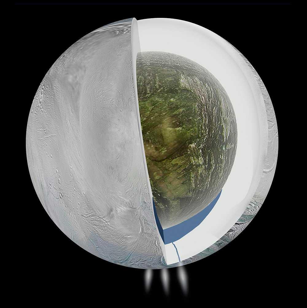 Bilden illustrerar den möjliga insidan av Saturnus måne Enceladus