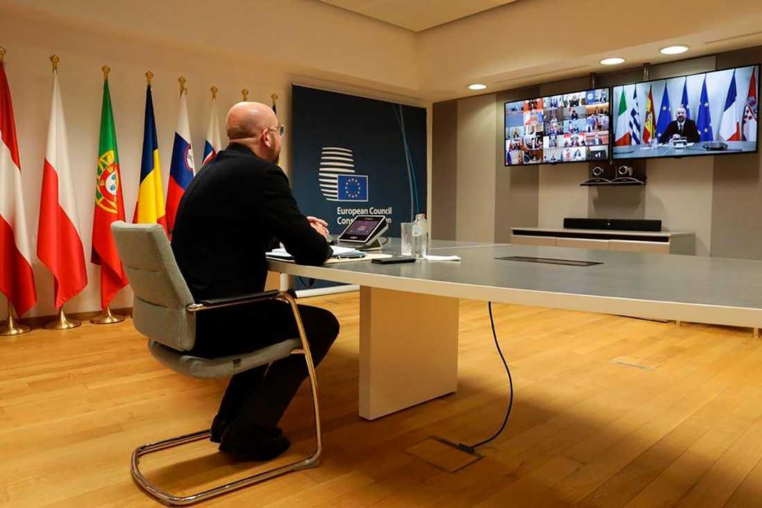 EU:s permanente rådsordförande Charles Michel vid det virtuella G20-mötet i mars.