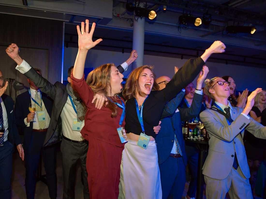 Jubel på Kristdemokraternas valvaka på At Six i Stockholm efter det att kvart-i-åttasiffrorna presenterats.