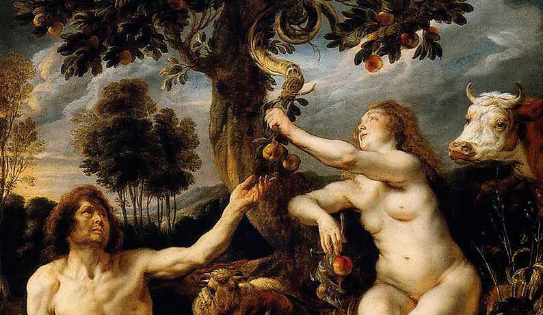 Adam och Eva  – målning från 1600-talet (beskuren).
