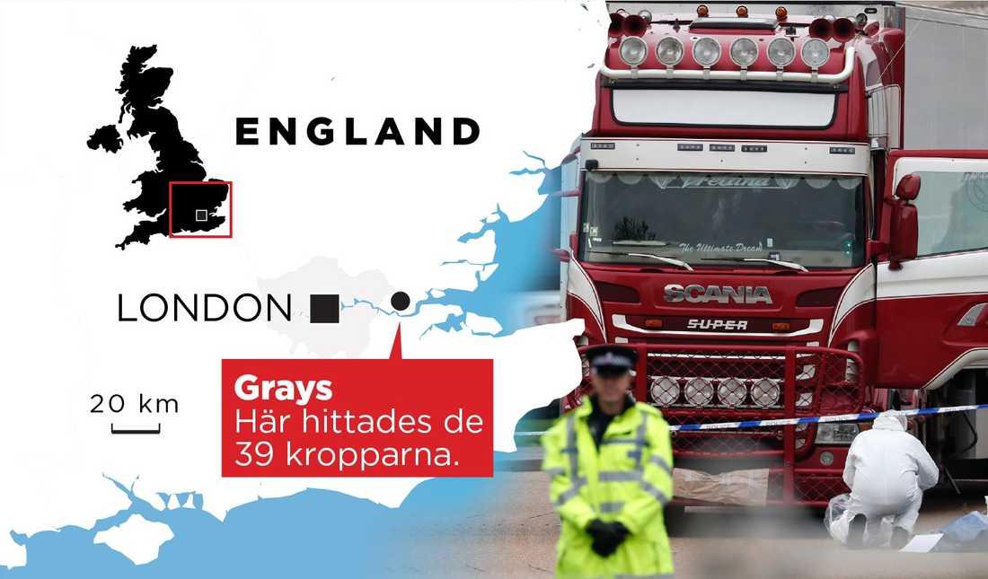 De 39 kropparna hittades i en lastbilscontainer i Grays, öster om London.