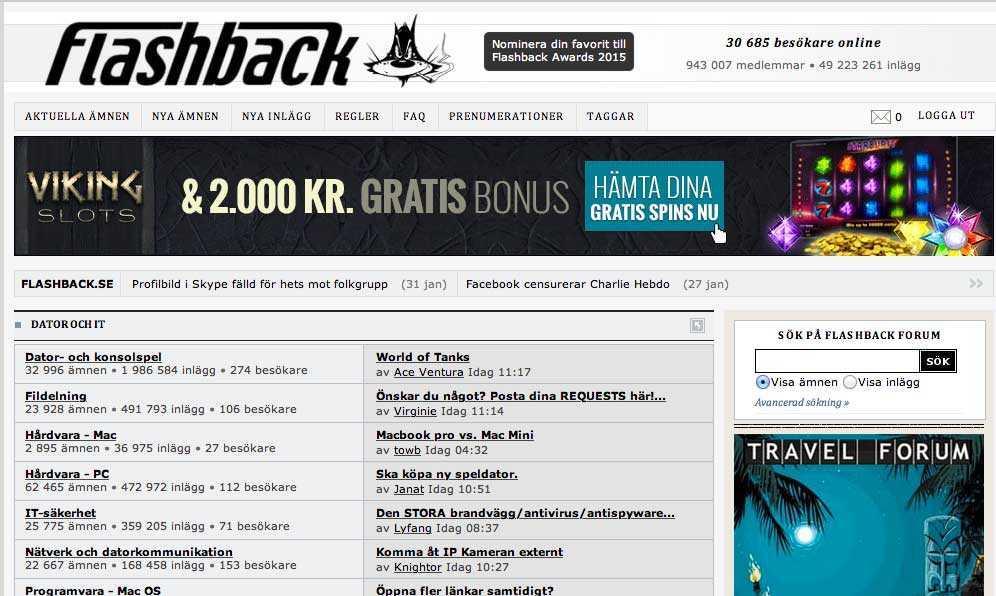 Flashbacks forum som startades kort efter millennieskiftet har snart en miljon användare. För att kringå svenska lagar och regler är sidan registrerad på en utländsk brevlådeadress.
