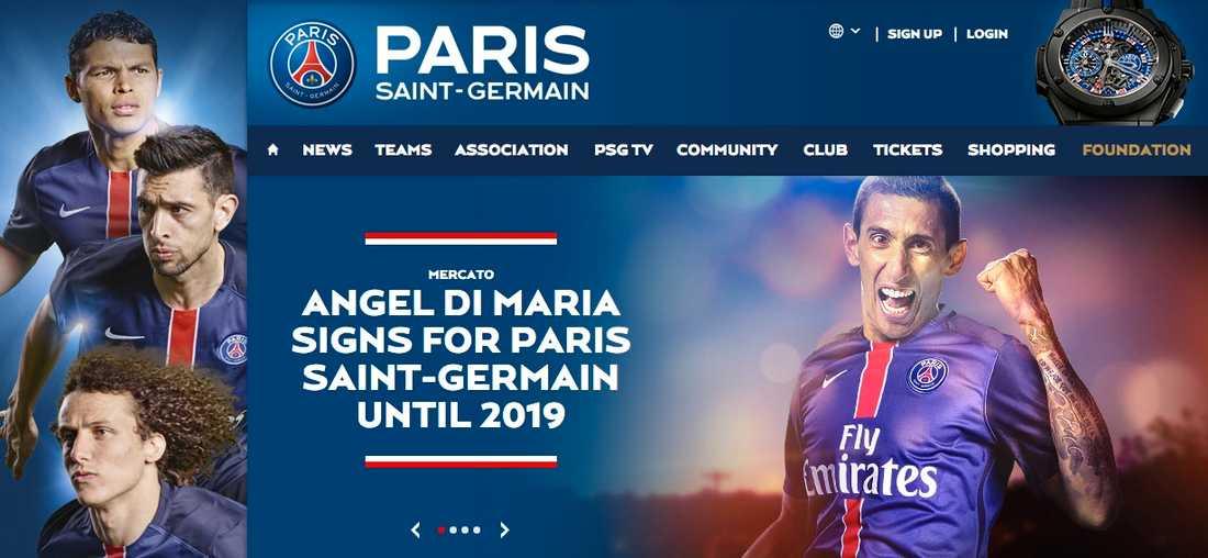 Nyheten på PSG:s hemsida.