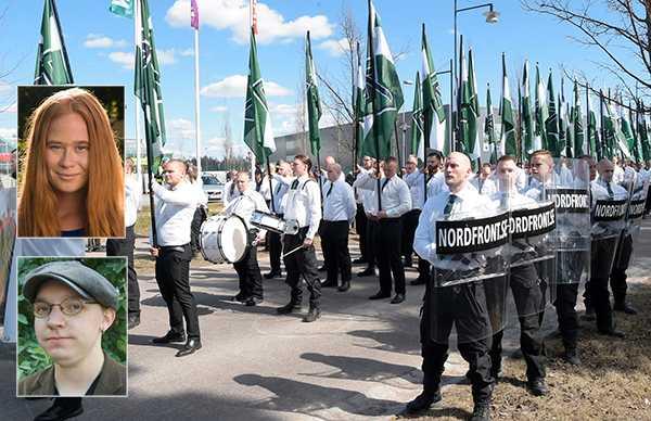 """Jessica Schedvin och Jonas Lundgren: """"Nyligen kom beskedet att Feministiskt initiativ bojkottar Almedalsveckan i Visby. Med beslutet lämnar de vägen fri för nazistiska krafter. Det är ett beslut som vi beklagar."""" (Stora bilden är från Nordiska Motståndsrörelsens demonstration i Falun)."""
