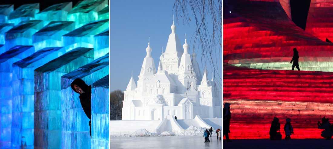Isfestivalen i Harbin bjuder på spektakulära skulpturer.