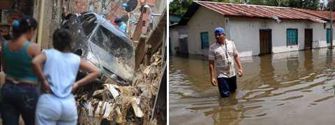 Orkanen Matthew svepte in över Nicaragua, där tusentals fick evakueras, och fortsatte över Honduras. Bilden till vänster är från Caracas i Venezuela, som också drabbades hårt.