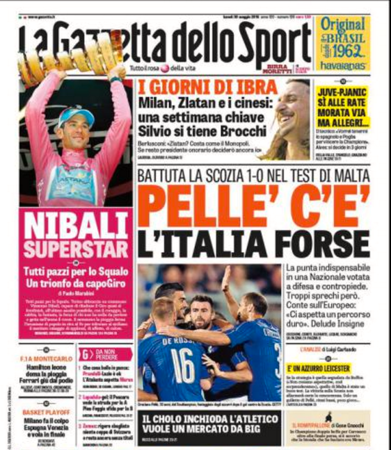 Gazzetta dello Sports förstasida i dag.