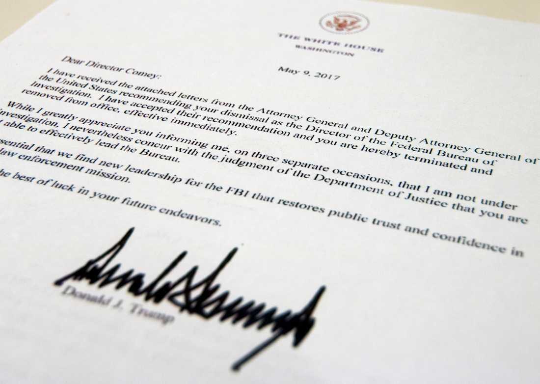 Brevet som Trump skickade till Comey.