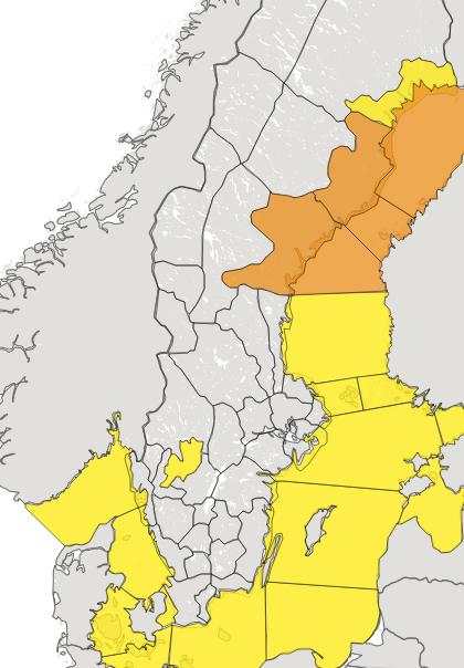 SMHI:s vädervarningar på torsdagsmorgonen.