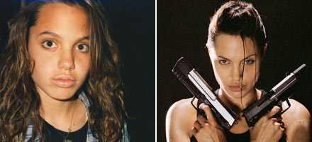Hårfin skillnad? Angelina Jolie – från storögd tonåring med pudelfrilla till pistolviftande hjältinna och stilikon.