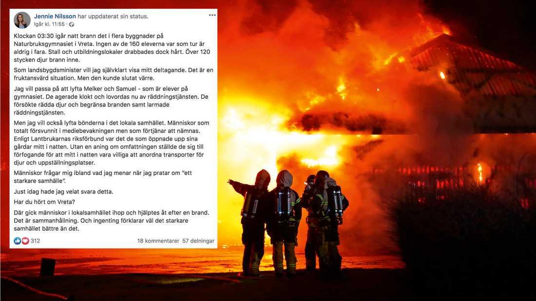Jennie Nilsson, landsbygdsminister, skrev ett inlägg på Facebook om branden, Samuel och Melker.