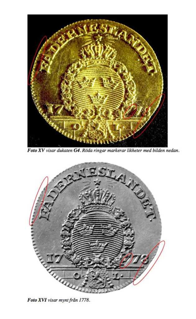 Polisens bevismaterial mot mannen visar hur märkena på det försvunna myntet matchar det stulna myntet mannen misstänks ha tagit från Myntkabinettets samlingar.