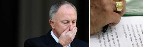 Irlands justitieminister Dermot Ahern höll presskonferens efter att fyra ärkebiskopar och den irländska polisen anklagas för att ha mörklagt årtionden av brott.