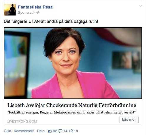 """Blufföretaget försöker sälja ett """"mirakelmedel"""" för viknedgång med hjälp av annonser på Facebook."""