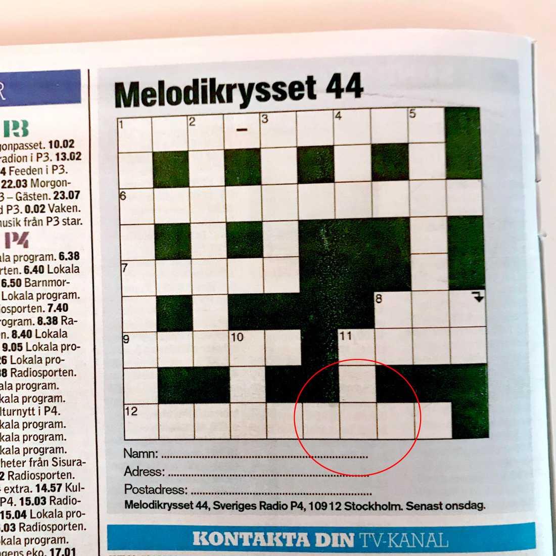 """Fel i """"Melodikrysset"""" även vecka 44."""
