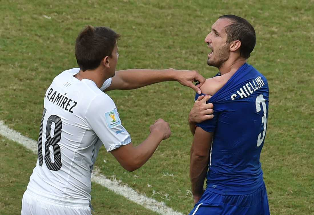 Gaston Ramirez försökte dölja Chiellinis axel.