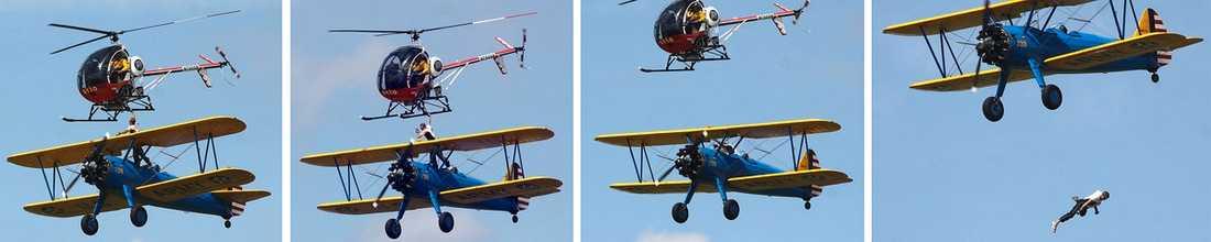 ERFAREN STUNTMAN Todd Green skulle klättra från dubbeldäckaren till helikoptern. Han hade gjort stuntet flera gånger tidigare men starka vindar gjorde konststycket farligare än vanligt. På tredje försöket halkade han och föll handlöst ned mot marken. Hans liv gick inte att rädda.