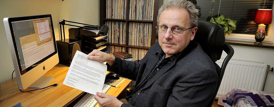 Dög inte plötsligt Gunnar Sandelin, blev nekad statlig tjänst ( på SCB) när chefen upptäckte att han skrivit debattartiklar om asyl- och migrationsfrågor.Foto : JONAS BILBERG