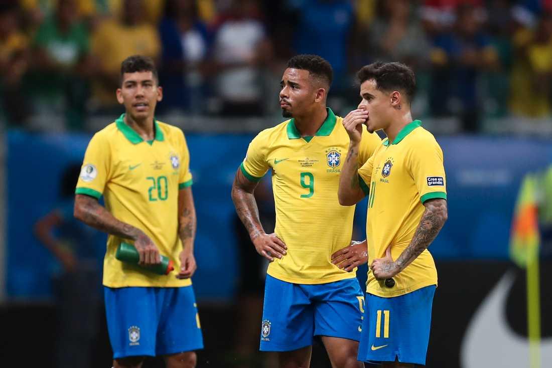 Roberto Firmino, Gabriel Jesus och Phillipe Coutinho deppar.