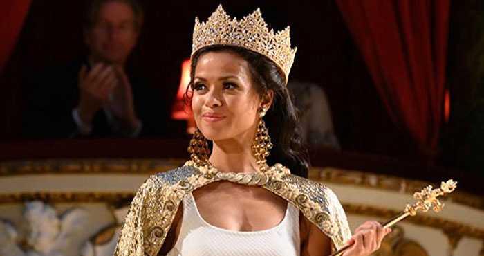 Gugu Mbatha-Raw som Jennifer Hosten, som 1970 blev historiens först svarta Miss World.