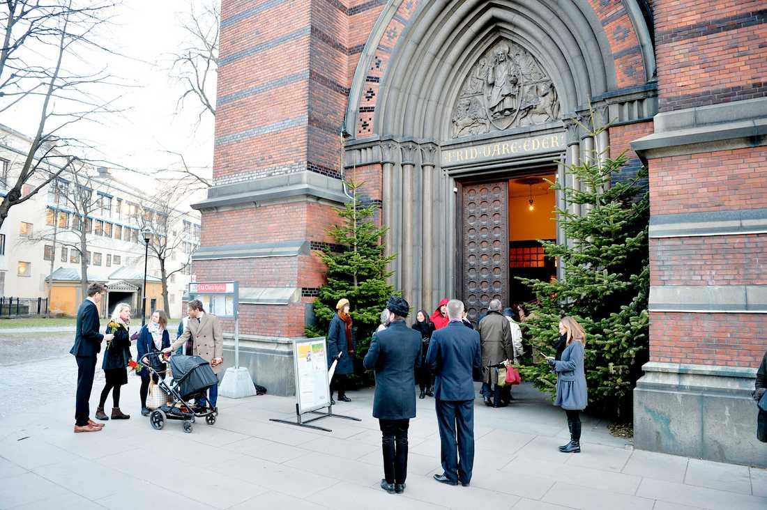 Lennart Hellsings begravning S:ta Clara Kyrka i Stockholm inför begravningen av Lennart Hellsing. Foto: ANDREAS BARDELL