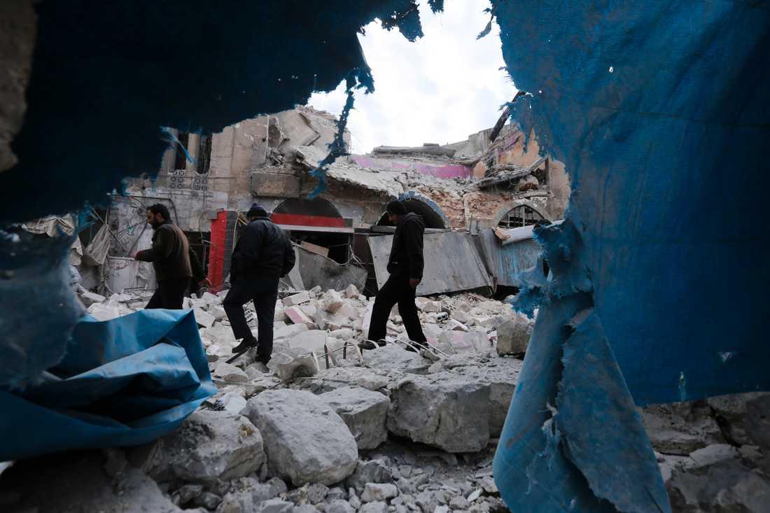 I onsdags attackerades orten Ariha i Idlib i ett flyganfall.