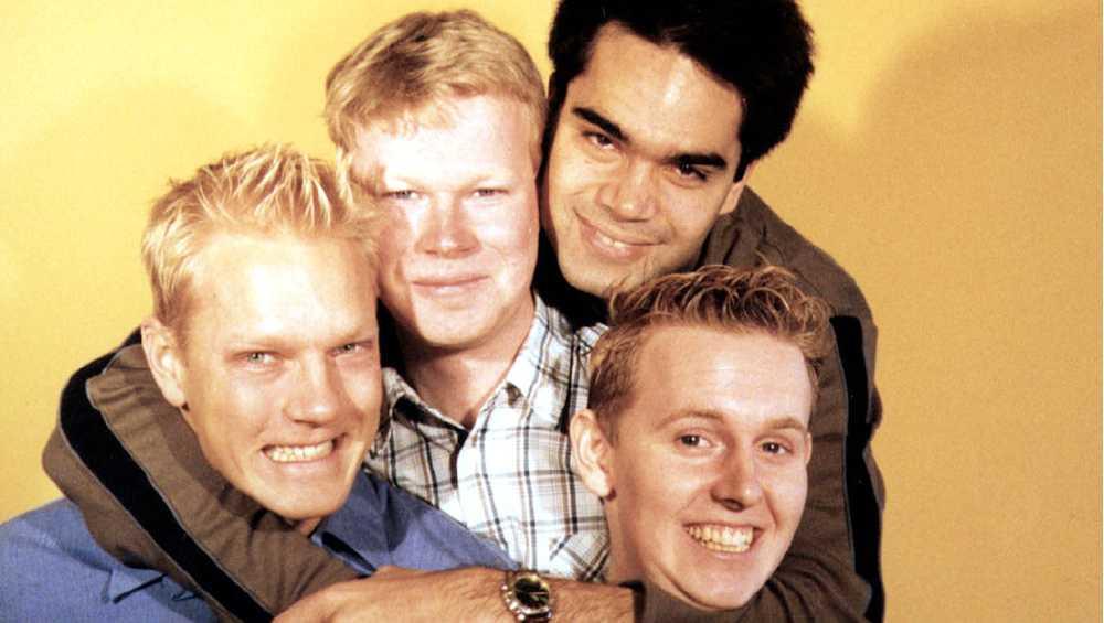 """""""Släng dig i brunnen"""" 1999: Thomas Järvheden, Johan Glans, David Batra och Måns Möller,"""