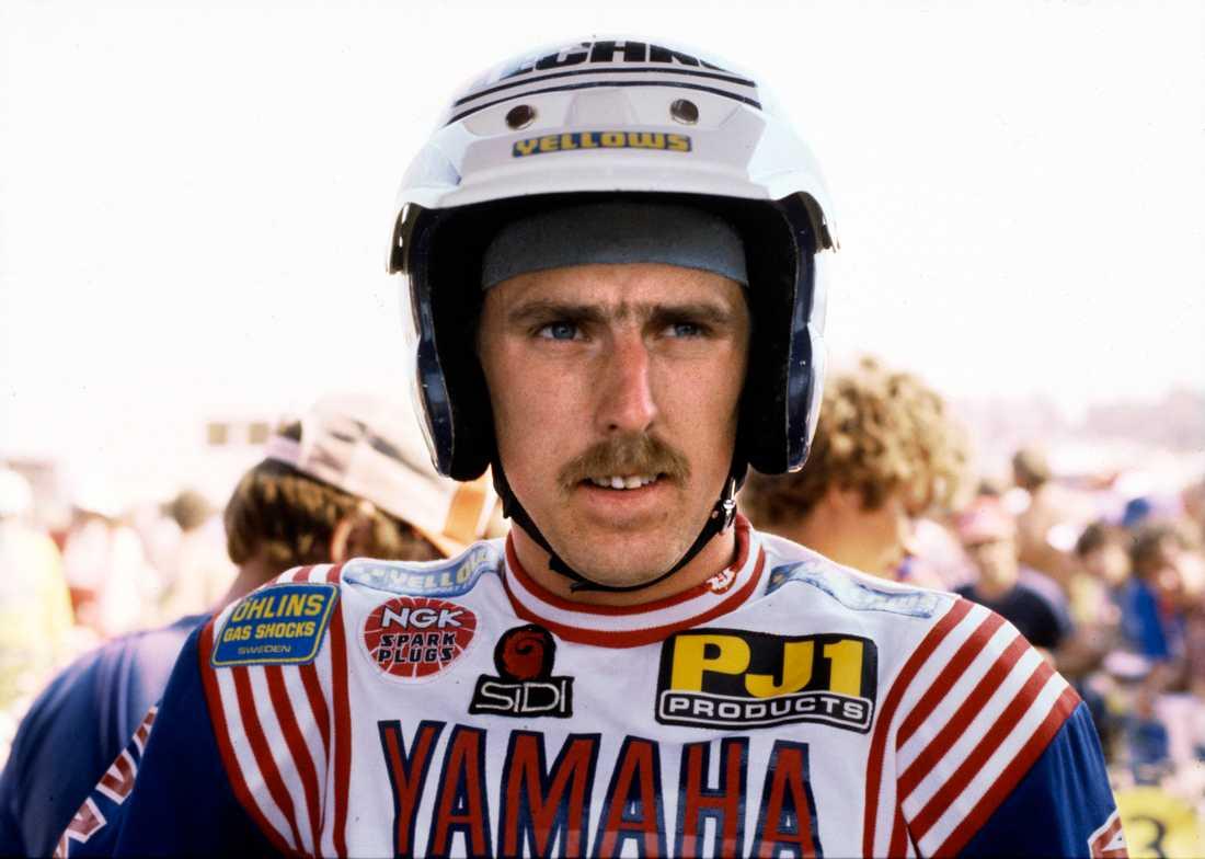 Håkan Carlqvist vid GP-tävlingen i motorcross 500 CC i Västerås 24:e maj 1981.