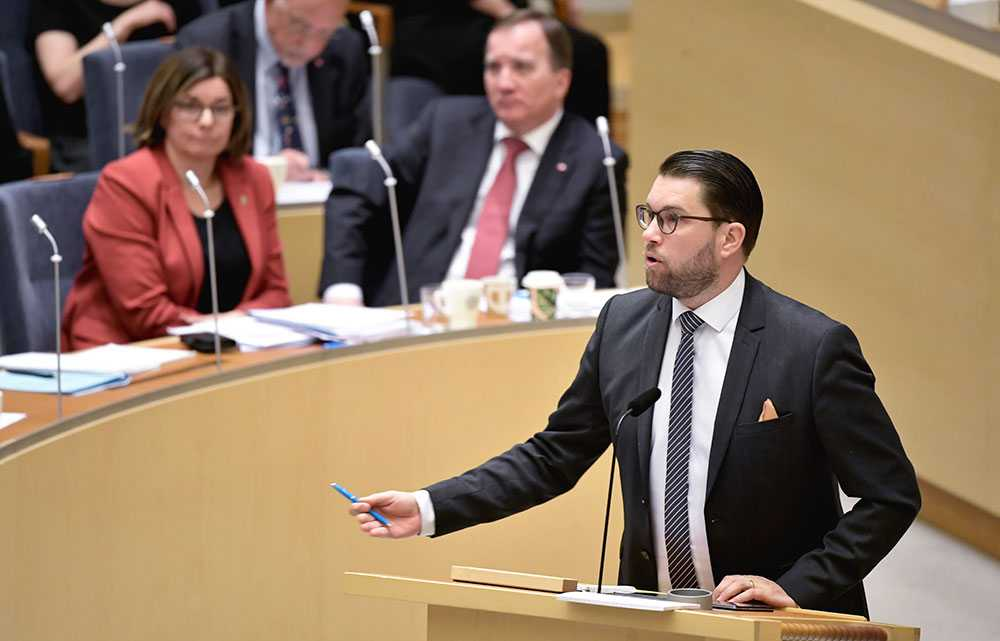 Jimmie Åkesson (SD) i riksdagen.