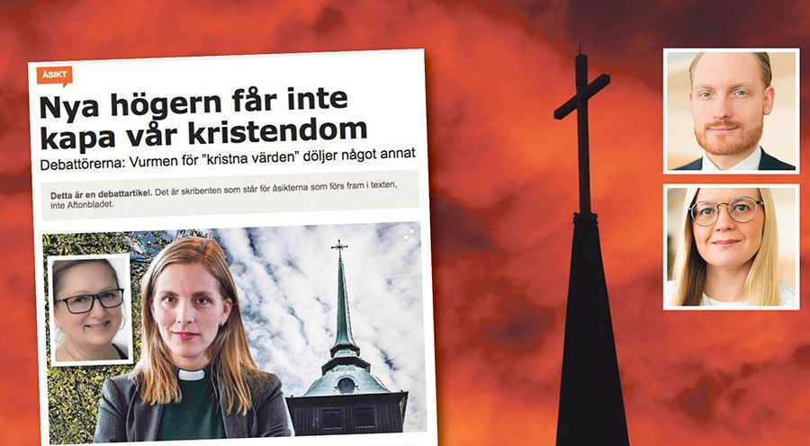 Vi anser inte att Svenska kyrkan bör användas som ett politiskt slagträ, den ska i stället värna om gudstjänst, undervisning, mission och diakoni, utifrån kristen tro och tradition, skriver Aron Emilsson och Julia Kronlid.