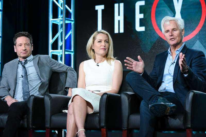 """DELAR INTE LIKA David Duchovny får dubbelt så hög lön som Gillian Anderson för """"Arkiv X"""". Seriens skapare Chris Carter, till höger, har beskrivit duon som symboler för människans eviga inre kamp mellan tro och förnuft."""