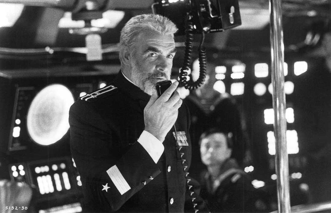 """Sean Connery i filmen """"Jakten på röd oktober""""(1990) baserad på boken med samma namn."""