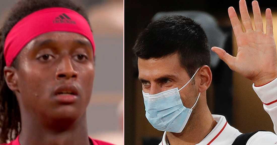 Mikael Ymer (t.v.) och världsettan Novak Djokovic (t.h.).