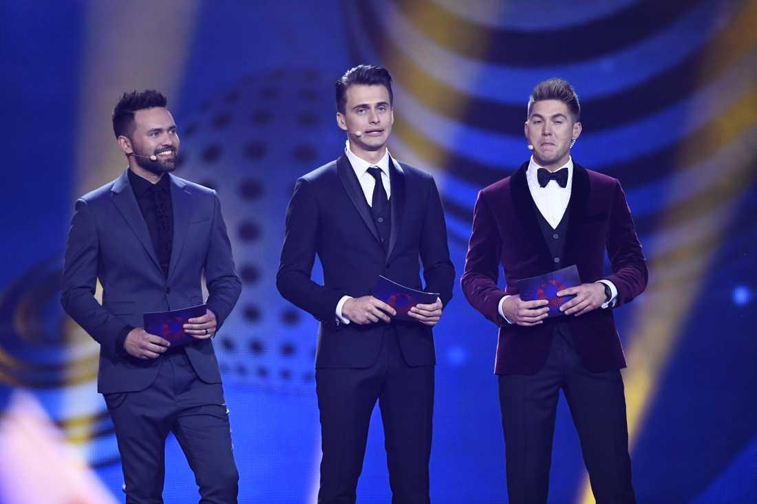 Tre manliga programledare i Eurovision 2017.