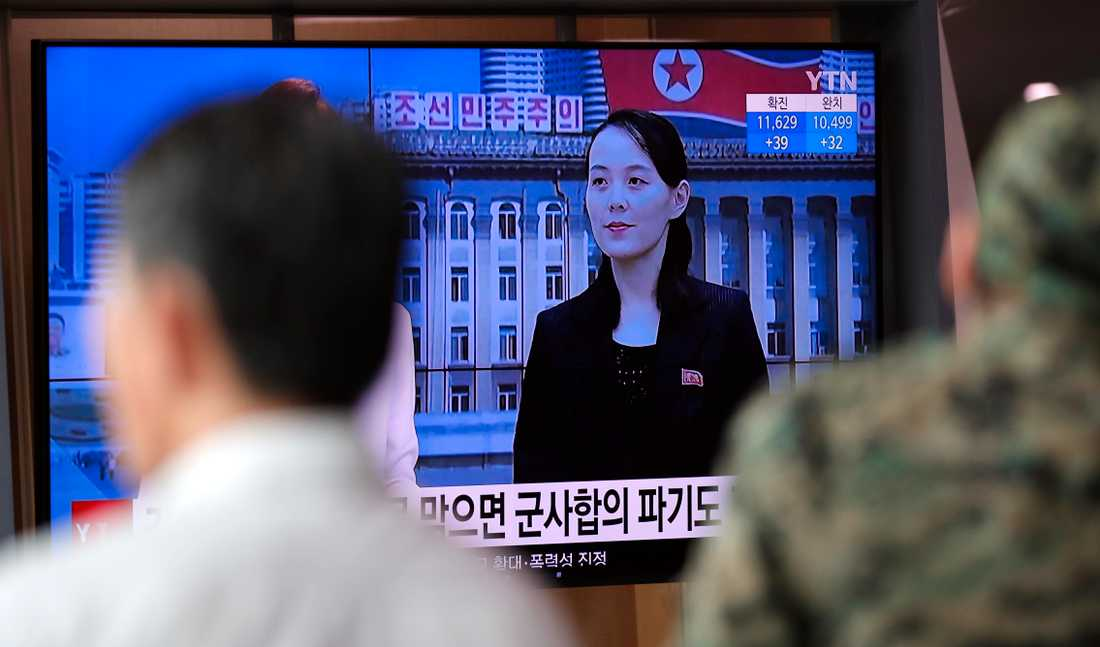 Kim Jong-Uns syster Kim Yo-Jong syns på tv i Sydkorea. Arkivbild.