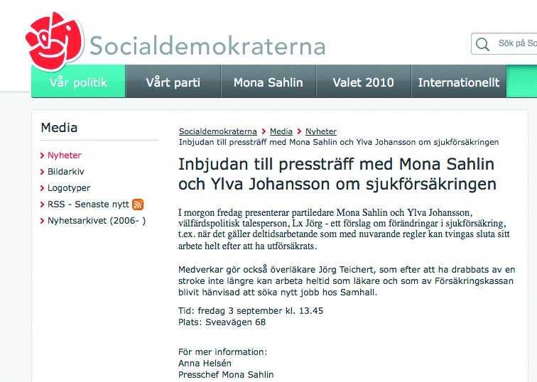 Socialdemokraterna skickade ut sitt pressmeddelande i går kväll, bara minuter innan utfrågningen med Reinfedlt började i SVT.