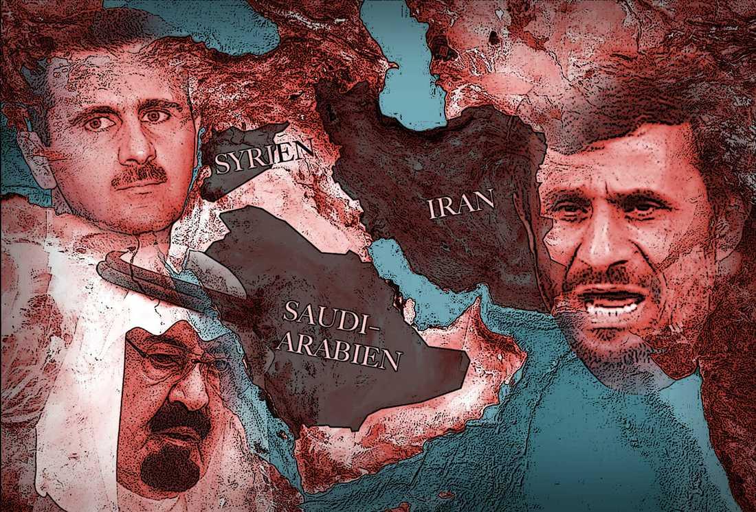 infekterad zon Ett kallt krig i miniatyr pågår mellan de regionala stormakterna Iran och Saudiarabien. Iran hjälper aktivt Assads regering i Syrien, varifrån det kommer upprepade rapporter om massakrer på civilbefolkningen – även små barn.