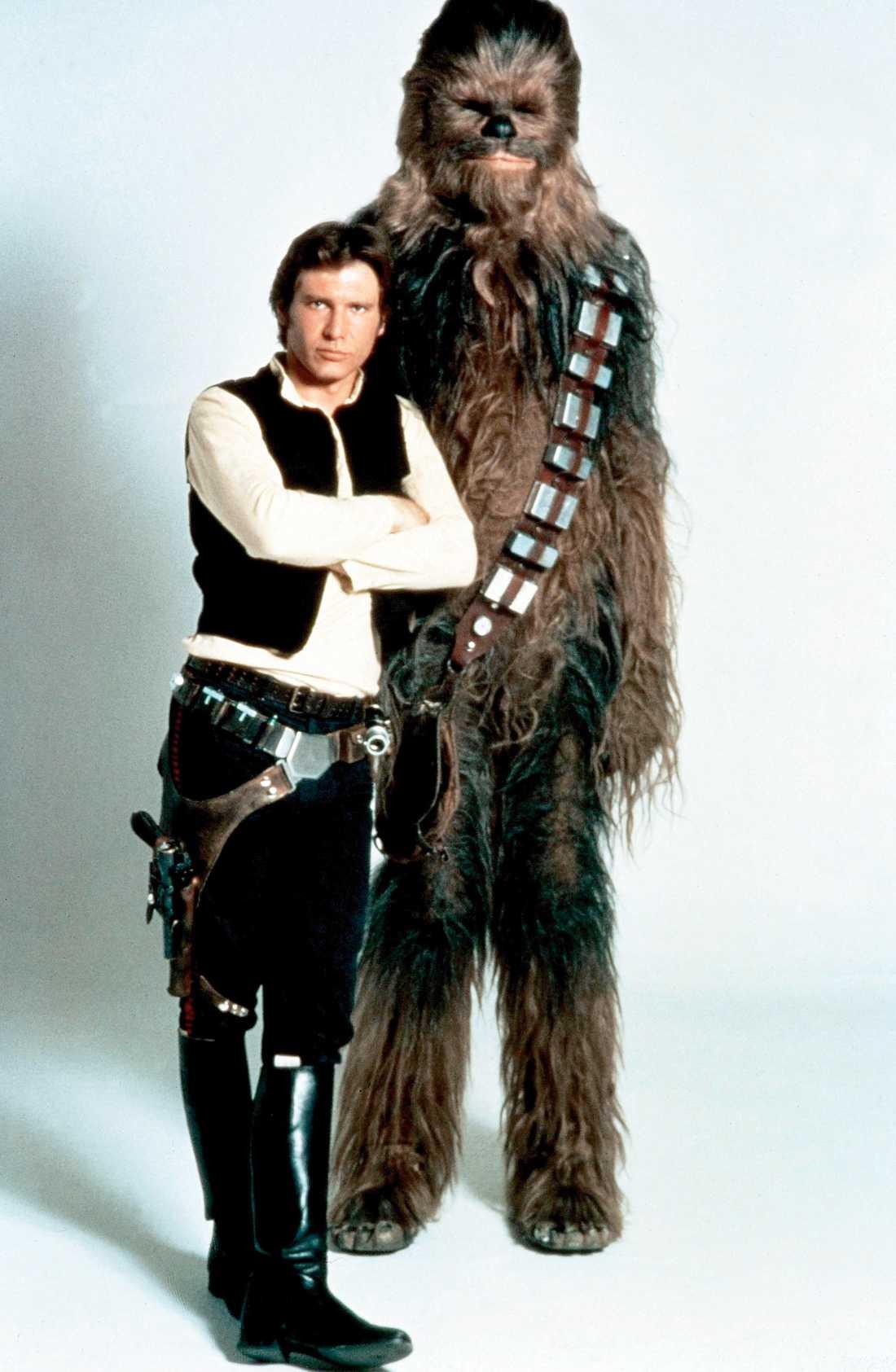 "Harrison Ford och Peter Mayhew i ""Star wars""."